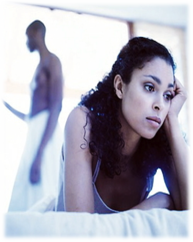 disappointed woman in bed with man in towel