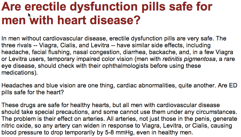 harvard ED pills for men with heart problems