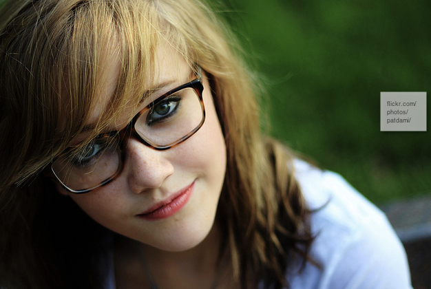 pretty girl face with glasses