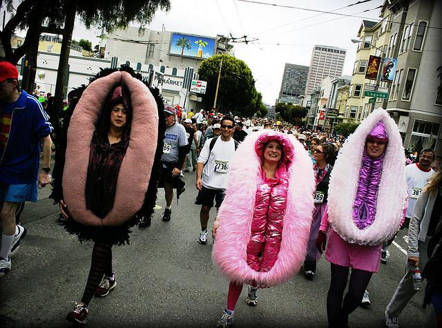women dressed as vaginas