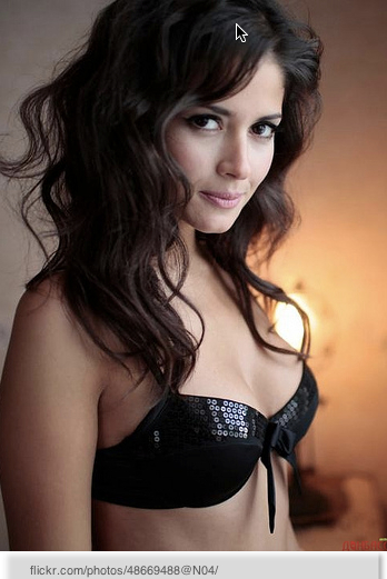 girl in black bustier